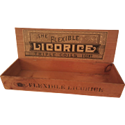 SALE Circa 1880s 'Flexible Licorice' Wooden Advertising Box.