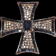 Hollycraft Blue and Clear Rhinestones Cross Brooch
