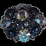Weiss Blue and Aurora Borealis Rhinestones Domed Brooch