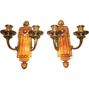 Pair of Brass & Copper Wall Candle Sconces