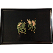 Vintage Courac Dancing Frogs Serving Tray