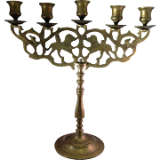 Vintage Cast Brass Sabbath Menorah (Candelabra)