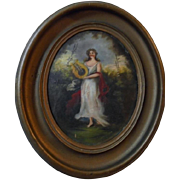 SALE Beautiful Antique Greek Muse Euterpe 19th Century Oil Painting Oval Frame