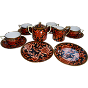 SALE Gorgeous Morimura Bros Nippon Tea Set Gold Orange Red Black Green Wreath Mark 13 ...