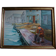 SALE Vintage Oil Painting Man Fishing on Pier Signed