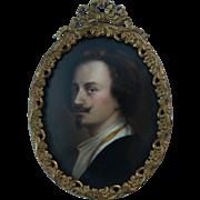 SALE Antique Miniature Painting on Porcelain after Anthony Van Dyck Handsome Portrait