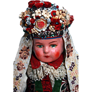 """SALE Ethnic composition head doll 22"""" in Eastern European very elaborate costume Unmarked"""