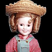 "Shirley Temple doll porcelain 14"" Danbury Mint Rebecca From Sunnybrook Farm, very good .."