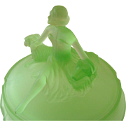 REDUCED Art Deco Frosted Green Glass Powder Dish with Lady and Dogs