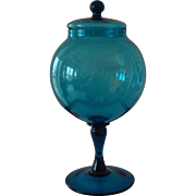 Mid- Century Aquamarine Blown Glass Covered Compote
