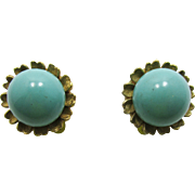 Signed Ciner Faux Turquoise Cabochon Button Earrings - 1970s