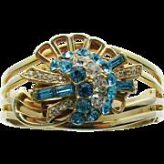 Vintage 1950s Aqua and Clear Rhinestone Cuff Bracelet