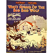 "SOLD ""Who's Afraid of the Big Bad Wolf""  Original  1933 Sheet Music - Red Tag Sale"