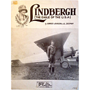 SOLD Lindbergh (Eagle of the U.S.A.)  Original 1927 Sheet Music - Red Tag Sale Item