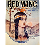 "SOLD ""Red Wing  'An Indian Love Song' ""  Beautiful 1939 Sheet Music - Red Tag Sale I"