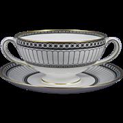 WEDGWOOD COLONNADE BLACK Leigh Shape Cream Soup Cup (Bowl) & Saucer Set