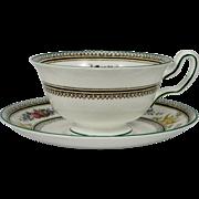 WEDGWOOD COLUMBIA W595 Peony Cup & Saucer Set