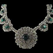 SALE Kramer of New York Crystal and Emerald Green Rhinestone Rhodium Plated Necklace