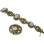 Hollycraft Gold Plated Faux Opal Bracelet and Brooch
