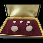 Swank White Mother of Pearl Tuxedo Set in Original Box