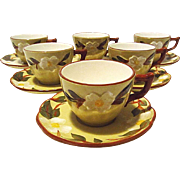 Stangl White Dogwood Cups & Saucers - Service for 6