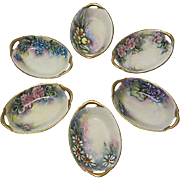 SALE Hand-Painted Bavarian Nut or Mint Dishes, Open Salt Cellars, Set of 6