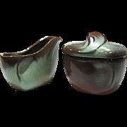Midcentury Prairie Green Sugar Bowl & Creamer by Frankoma