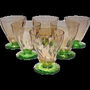 Rose & Green Watermelon Glass Cordials, 6      Pink Depression Tumblers Juice Glasses