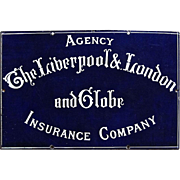 Porcelain Advertising Sign for The Liverpool & London and Globe Insurance Company