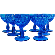 SALE Fenton Colonial Blue Stemware, Set of 8, Champagne Glasses / Tall Sherbet Dishes