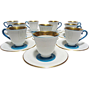 Czech Demitasse Service, Turquoise & Gold, 10 Sets