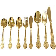 SALE Gold Plated Flatware by Stanley Roberts, Service for 6 - 38 Pieces
