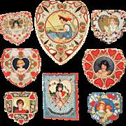 9 Whitney Made Valentines, Die-Cut & Embossed, Circa 1920s