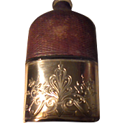 Civil War Era Glass/Leather/Silver Plate Flask
