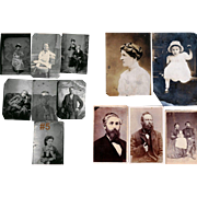 A Lot Of Seven Collectible Tintype Photographs & Five Old Inscribed Photographs On Pasteboard