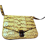 Yellow Snake Skin- Black Quality Leather- Silver Color hardware Purse