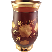 Lovely Amber Bohemian Glass Vase