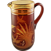 Amber Cut to Clear Bohemian Glass Pitcher