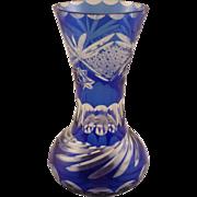 Cobalt Blue Cut to Clear Bohemian Glass Vase