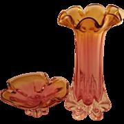 Lovely Rubin Bohemian Vase and Bowl Set