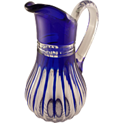 SALE Gorgeous Cobalt Blue and Clear Pitcher