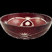 Ruby Red Bohemian Glass Bowl