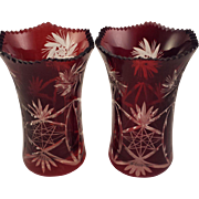 2 Ruby Red Bohemian Glass Cut to Clear Vases