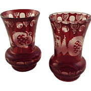 2 Lovely Ruby Red Cut to Clear Bohemian Glass Vases