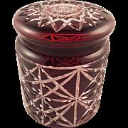 Beautiful Dark Red Bohemian Glass Candy Jar