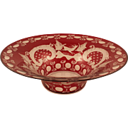 SALE Lovely Ruby Red Bohemian Glass Bowl