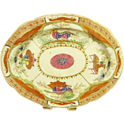 An Early LARGE Antique English Coalport Porcelain Platter. Dragons In Compartments.