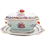 A Magnificent Antique Chinese Export Porcelain Armorial Tureen and Stand