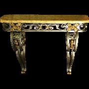 French Art Nouveau Iron Console Table