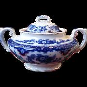 Wh Grindley Flow Blue Florida Pattern Sugar Bowl